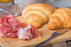 Breakfast with orange juice, fresh croissant Royalty Free Stock Photo