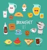 Breakfast orange juice mafin toasts coffee. Breakfast set. Animated orange, juice, mafin toasts coffee rejoice and laugh. Vector illustration Royalty Free Stock Image