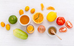 Breakfast with orange juice, oranges, oranges slice, passion fru Royalty Free Stock Photo