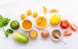 Breakfast with orange juice, oranges, oranges slice, passion fru Royalty Free Stock Image