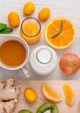Breakfast with orange juice, oranges, oranges slice, passion fru Stock Image