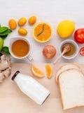 Breakfast with orange juice, oranges, oranges slice, passion fru Stock Photos