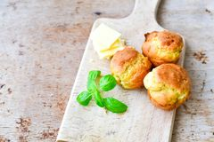 Yellow Cheese and cheese   muffins. Breakfast  from   organic  bio  yellow cheese, home made cheese   muffins  and fresh basil   on a  white wooden background Royalty Free Stock Photo