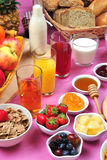 breakfast with organic juice and jam Stock Images