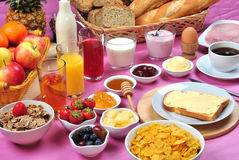 breakfast with organic juice and jam Royalty Free Stock Photo