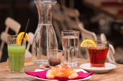 Breakfast outdoor. Italian breakfast on a table bar Royalty Free Stock Image
