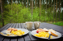 Breakfast outdoors Stock Photography