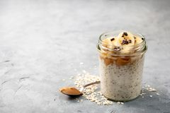 Breakfast with  overnight oatmeal Royalty Free Stock Images