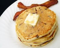 Breakfast pancakes and bacon Stock Images