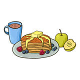 Breakfast, pancakes with berries, coffee and apples Royalty Free Stock Image