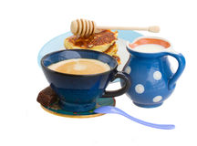 Breakfast with pancakes and coffee Royalty Free Stock Photography