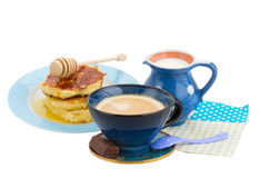 Breakfast with pancakes and coffee with milk Royalty Free Stock Photography