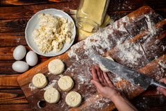 Pancakes from cottage cheese . Cooking in the kitchen .Cooking stock image