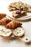 Breakfast with pancakes,  croissant and toasts Stock Images