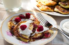Breakfast with pancakes and milk Stock Images