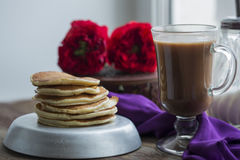 Breakfast with pancakes Stock Image