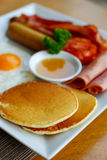 Breakfast with pancakes Royalty Free Stock Image