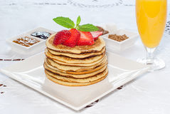 Breakfast  Pancakes with strawberries Royalty Free Stock Photos
