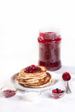 Breakfast with pancakes and strawberry jam Royalty Free Stock Photo