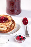 Breakfast with pancakes and strawberry jam Royalty Free Stock Photos