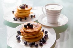 Breakfast pancakes on the stylish plate served with fresh blueberries and topped with original maple syrup, next cup of cofee royalty free stock photography