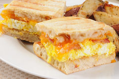 Breakfast panini closeup Stock Images