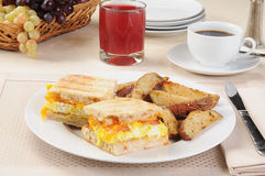 Breakfast panini with coffee Stock Photography