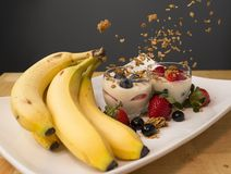 Breakfast Parfait with Fruit and Granola Stock Photos