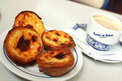 Breakfast of pasteis de nata and coffee. Stock Image