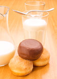 Breakfast; pastries filled with cream chocolate and milk Royalty Free Stock Photos