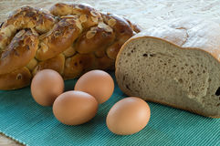 Breakfast pastry and eggs Stock Photo