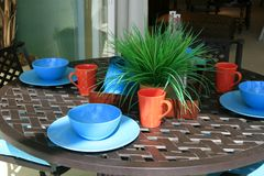 Breakfast on Patio Stock Images