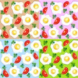 Breakfast patterns. Set of seamless breakfast patterns with fried eggs and tomatoes Royalty Free Stock Photos