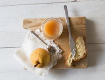Breakfast with pear jam Royalty Free Stock Images