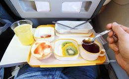 Breakfast in plane royalty free stock image
