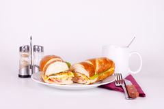 Breakfast on plate. With set for dining Royalty Free Stock Photos