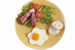 Breakfast plate. Of sunny side up, timatoes, bacon, bread, lettuce Stock Photography