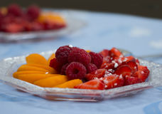 Breakfast. For breakfast, a plate of delicious fruits is ready Stock Photography