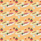 Breakfast on a plate eggs bacon lettuce tomato a cup pattern Stock Photos