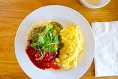 Breakfast Plate with Eggs and Salsa Stock Photo