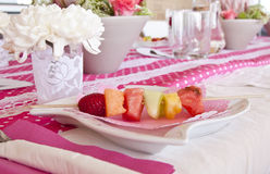 Breakfast plate with fruit Stock Photos