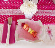 Breakfast plate with fruit Stock Images