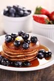 Breakfast. Plate with pancakes and fresh fruits stock photo