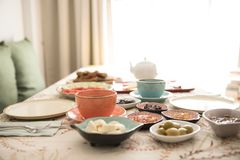 Breakfast and plate on the table stock photo