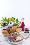 Breakfast with plum jam Stock Photo