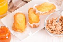 Breakfast with plumcake. Royalty Free Stock Image