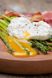 Breakfast: poached egg, baked asparagus Stock Images