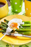 Breakfast with poached egg and green asparagus Stock Image