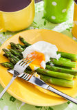 Breakfast with poached egg and green asparagus Royalty Free Stock Image