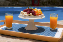 Breakfast in poolside. Healthy breakfast in poolside, athens, greece Stock Images